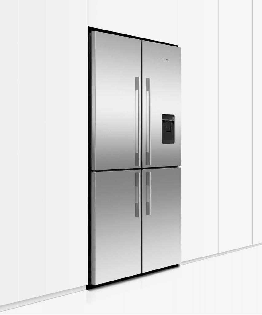 Factory Second Fisher and Paykel French Door Fridges Quad Door Fridge Freezer, 905mm, 605L, Ice & Water, Stainless Steel RF605QDUVX1