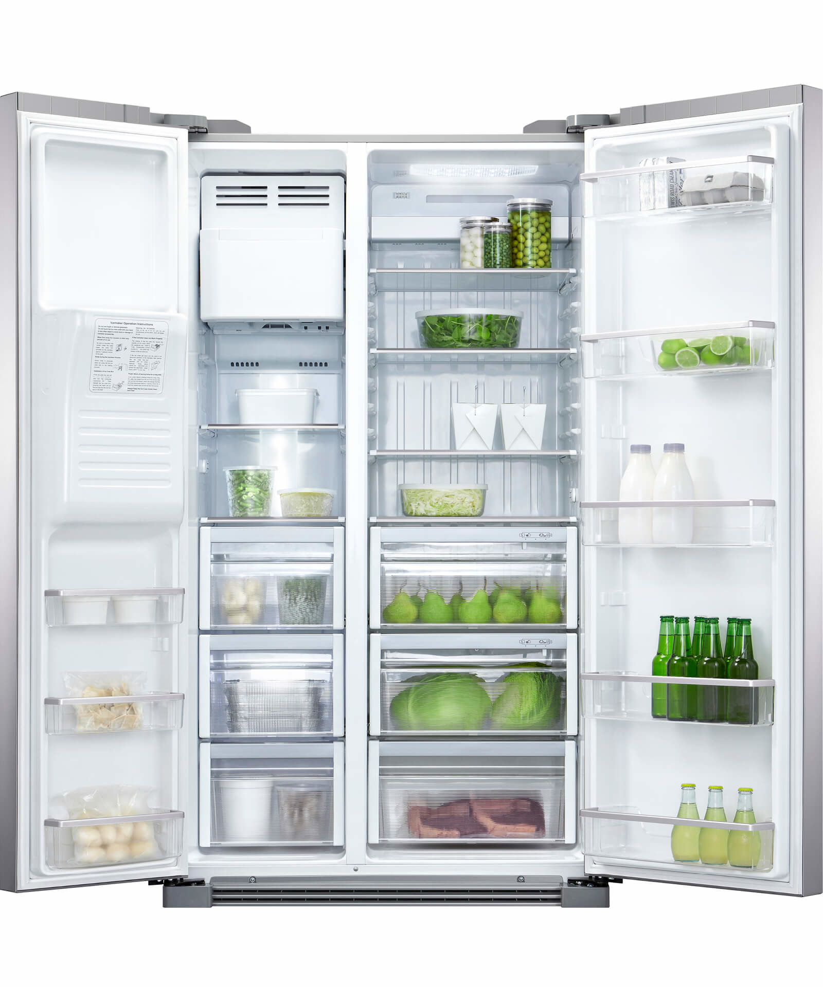 Fisher & Paykel 610L Side By Sidge Fridge / Ice & Water Stainless (Factory Second)