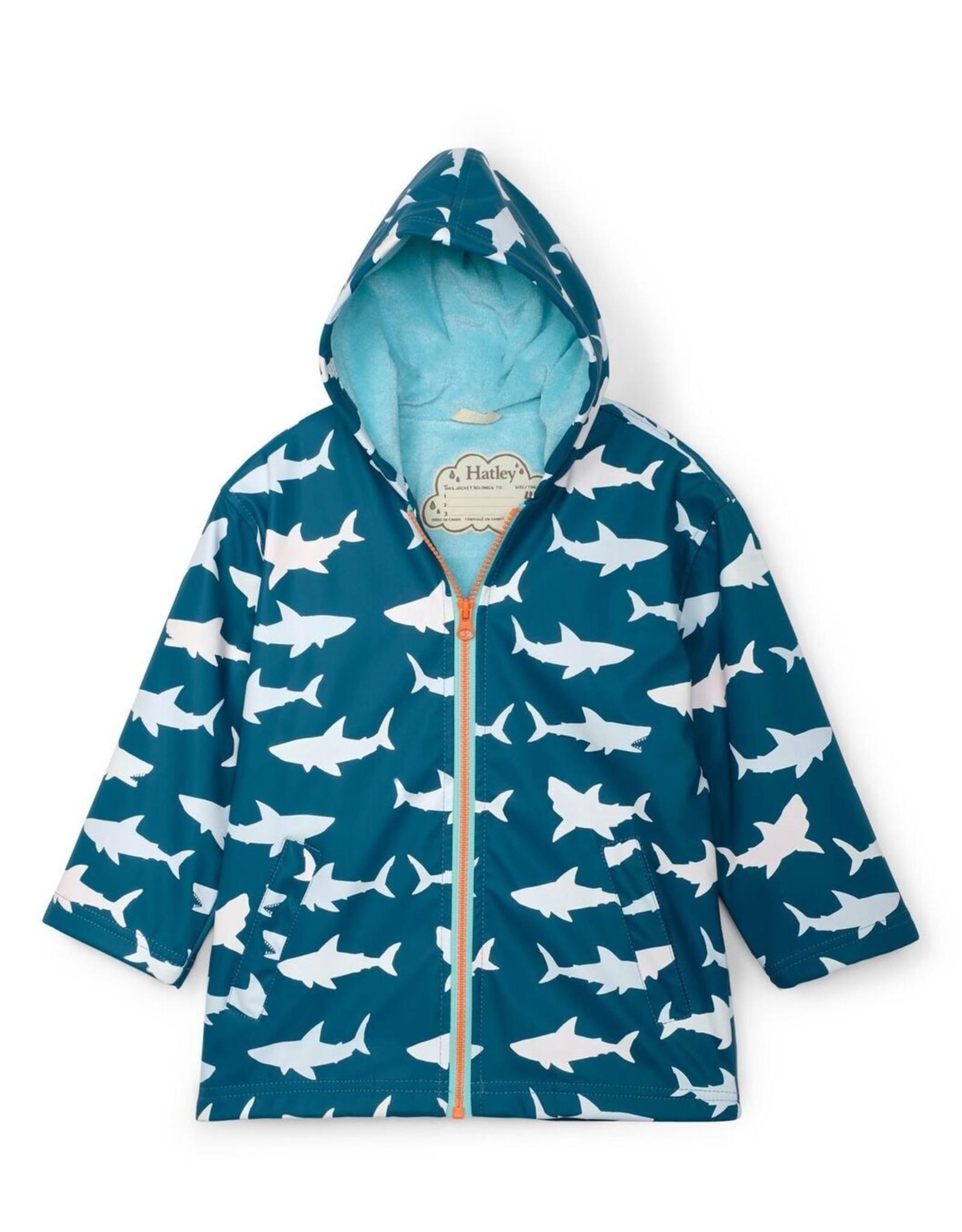 Hatley Color Changing Splash Jacket Great White Raincoat Sharks