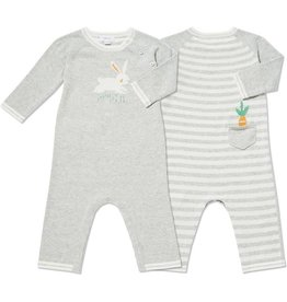 Angel Dear Angel Dear Bunny Grey Knit Coverall