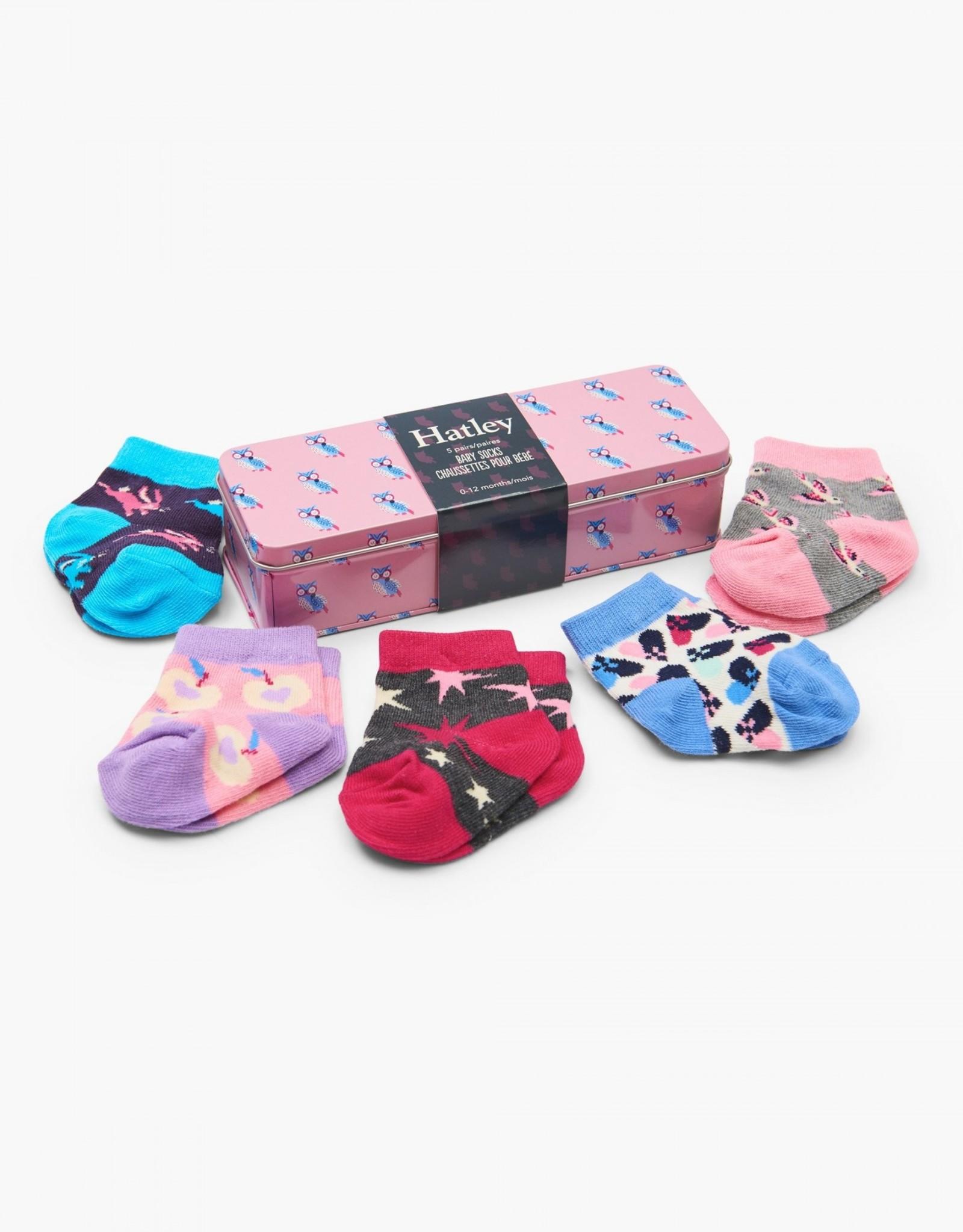 Hatley Socks Gift Tin Baby Girl Owl