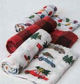 Little Unicorn Little Unicorn Muslin Swaddle 3-pack- Holiday Haul