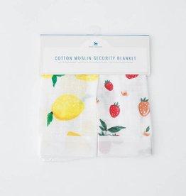 Little Unicorn Little Unicorn Muslin Security Blankets- Lemon & Strawberry