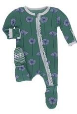 KicKee Pants Kickee Print Ivy Poppies Muffin Ruffle Footie