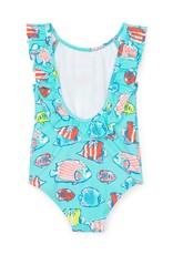 Hatley Colorful Fishies Ruffle Sleeve Swimsuit