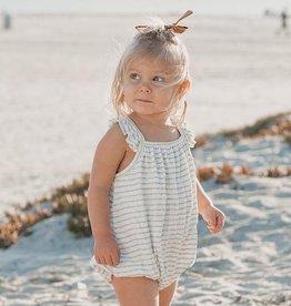 Rylee & Cru Rylee & Cru stripe clementine onesie sea