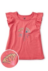 Tea Collection TEA Embroidered Flower Flutter Tee Desert Rose