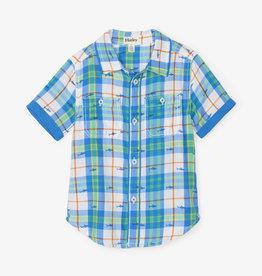 Hatley Shark Plaid Short Sleeve Button Down Shirt