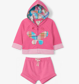 Hatley Madras Plaid Butterfly Hoodie Short Set