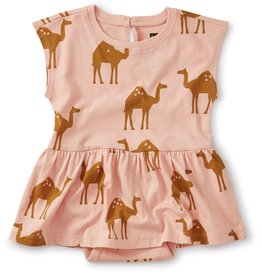 Tea Collection TEA Skirted Romper Oasis Camel, Dusty Coral