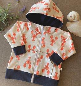 Plaid Pine Designs Organic Lobster Print Hoodie