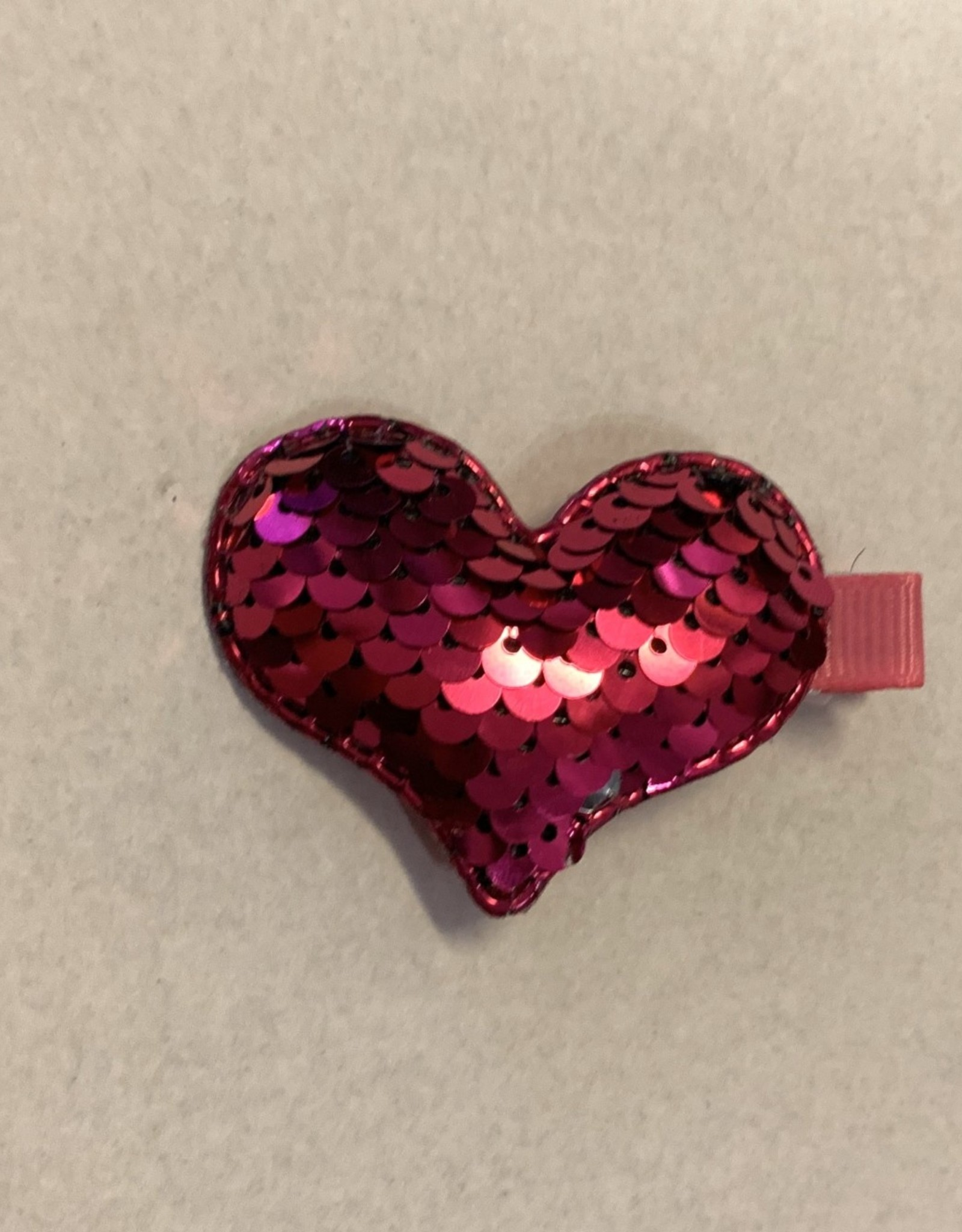 Hot Pink Sequin Heart Clips