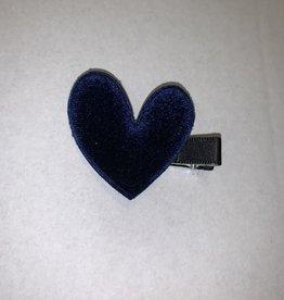 Navy Velvet Heart Clips