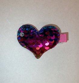 Rainbow Sequin Heart Clip