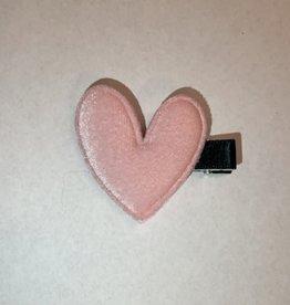 Light Pink Velvet Heart Clip