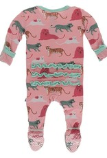 KicKee Pants Kickee Pants Classic Ruffle Footie Strawberry Big Cats