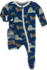 KicKee Pants Kickee Print Footie Flag Blue Big Cats