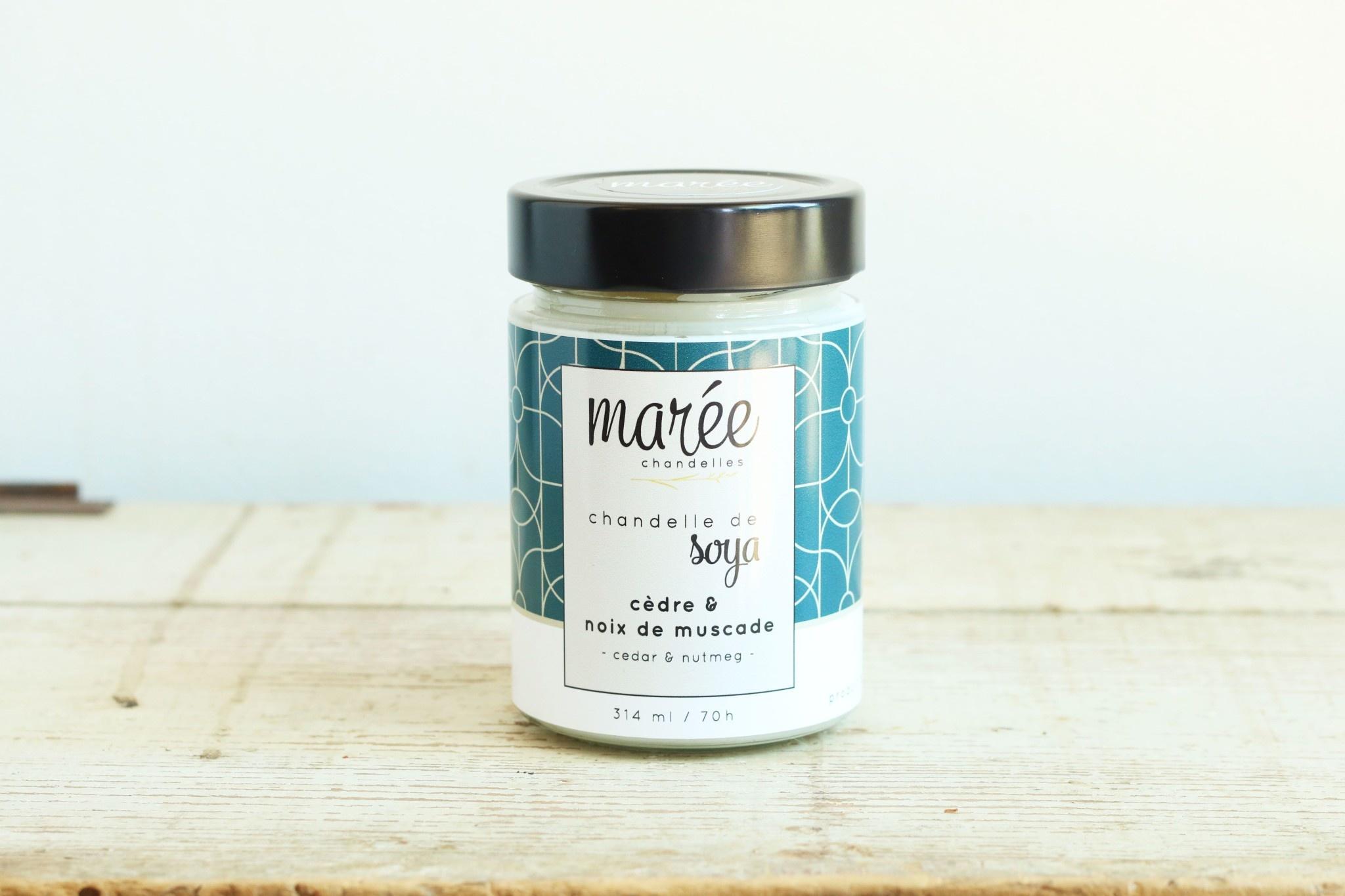 Marée chandelles MARÉE CHANDELLES: Chandelle de soya cèdre & noix de muscade