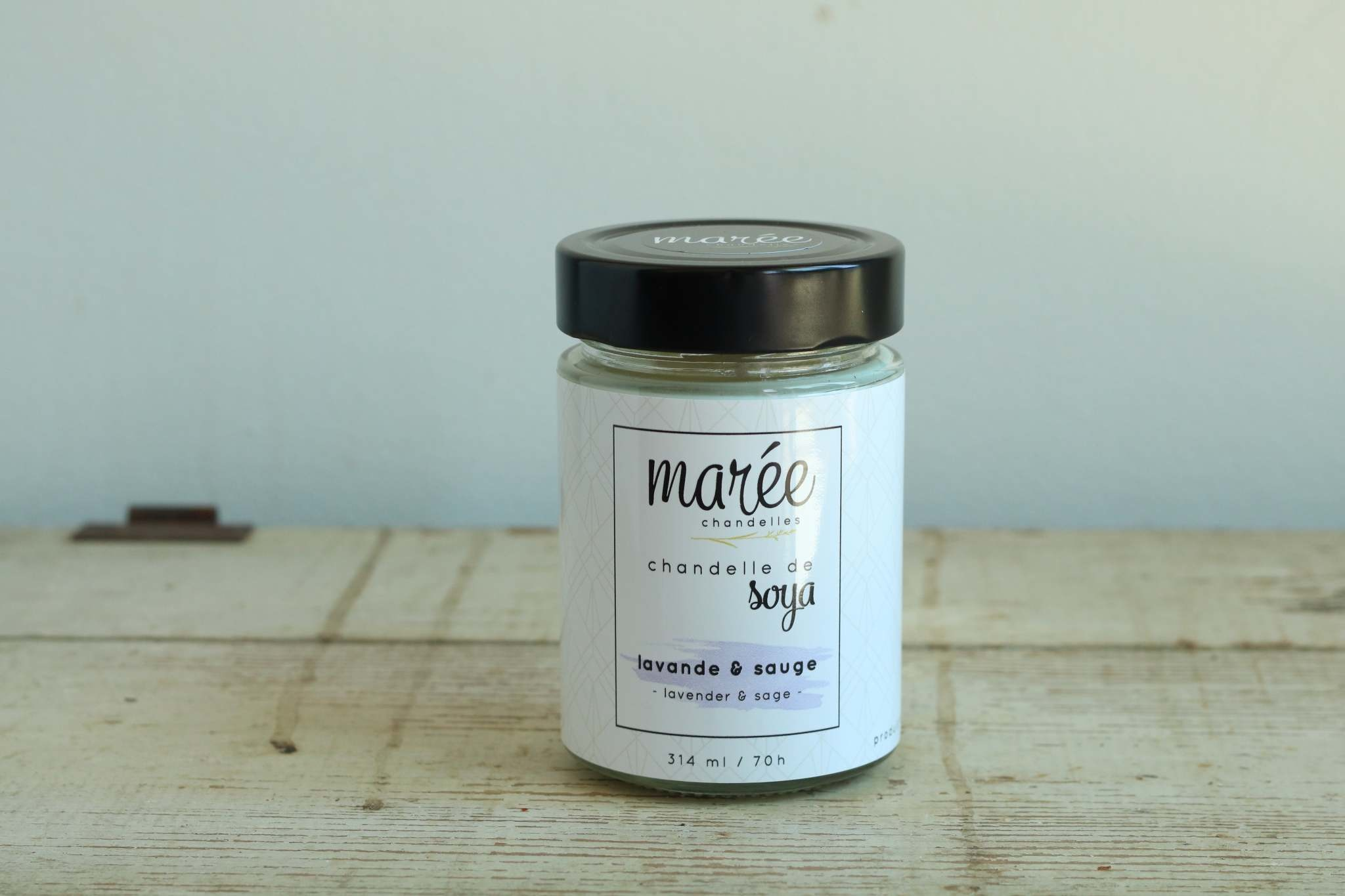 Marée chandelles MARÉE CHANDELLES: Chandelle de soya lavande & sauge (314ml)
