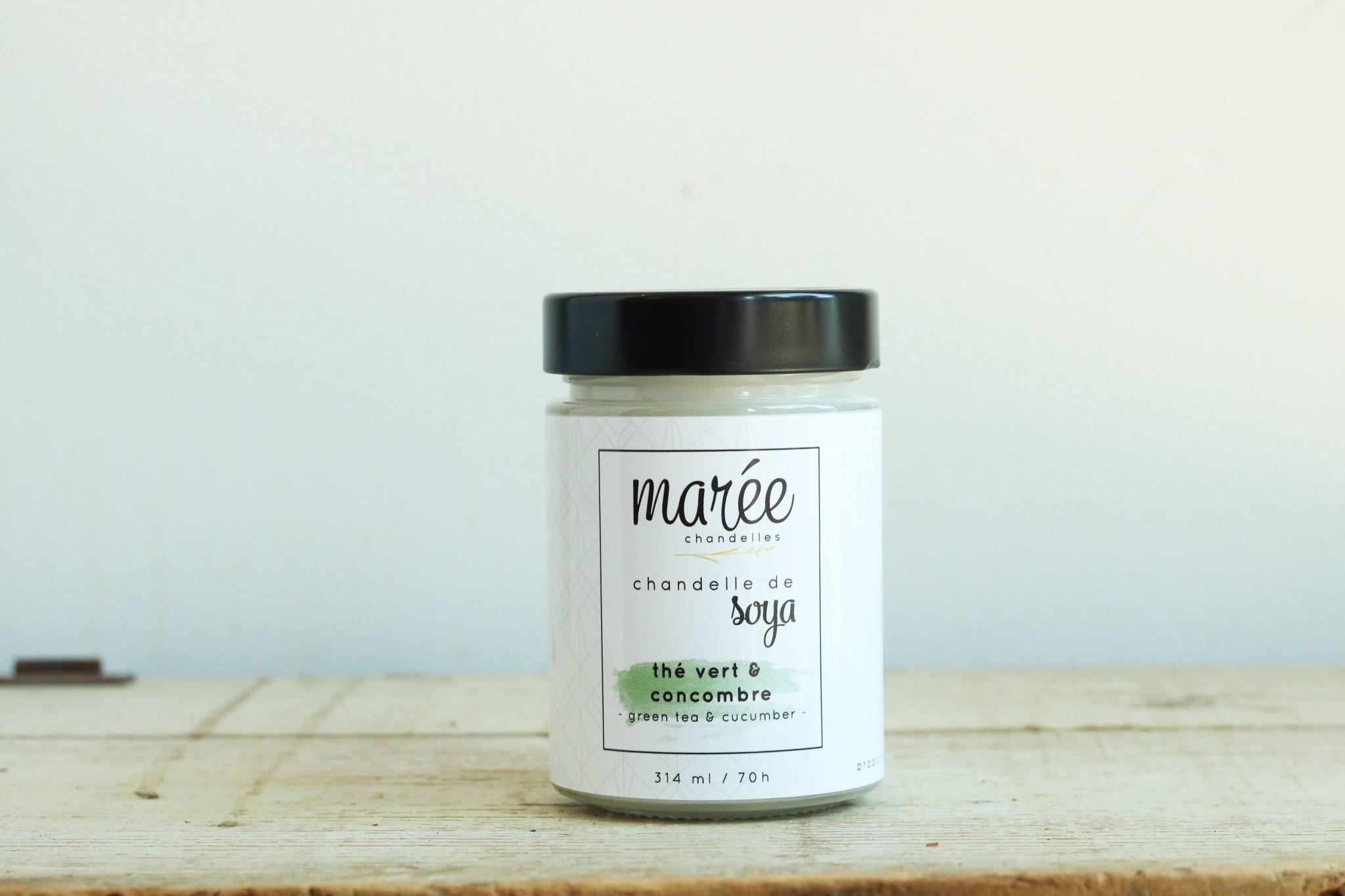 Marée chandelles MARÉE CHANDELLES: Chandelle de soya Thé vert & concombre (314ml)