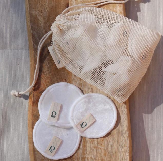 OMY Laboratoires OMY Laboratoires:  Cotons réutilisables en bambou (12) + pochette de lavage $24
