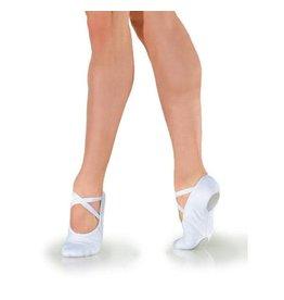 SoDanća BA14 Full sole, soft leather ballet shoe w/ drawstring WHITE