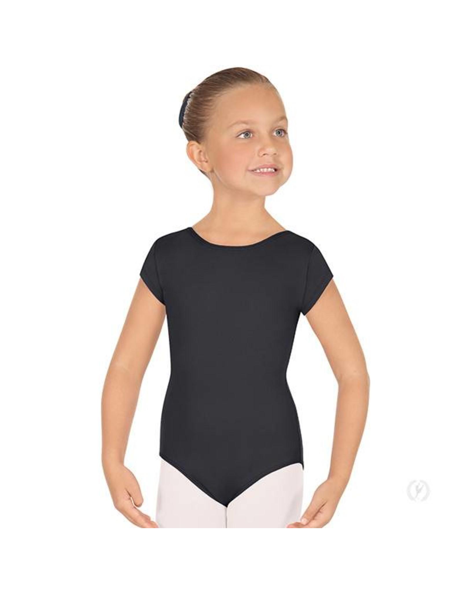 Eurotard 44475C CHILD SHORT SLEEVE TACTEL LEOTARD BLACK