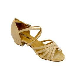 """Stephanie 16003-51XG Stephanie Tan Child Leather Ballroom Shoe/Two Way Strap  1.5""""  TAN LEATHER"""
