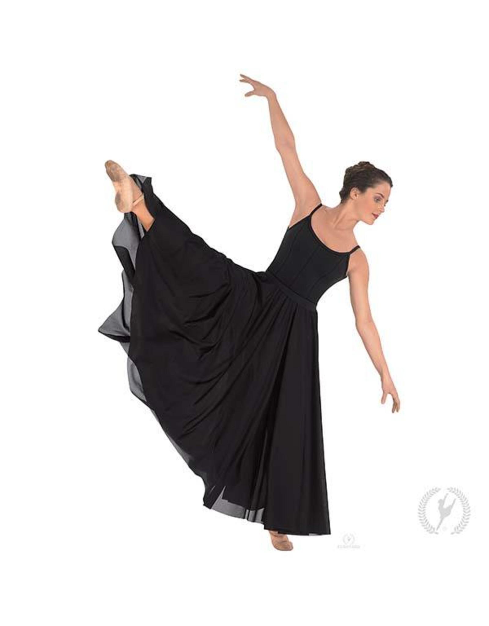 Eurotard 13674p- Adult Plus Size Triple Panel Lyrical Skirt Black PLUS
