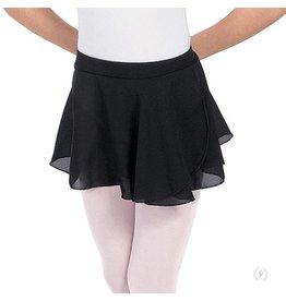 Eurotard 10127 Girls Mock Pull up Wrap Chiffon Skirt  BLACK