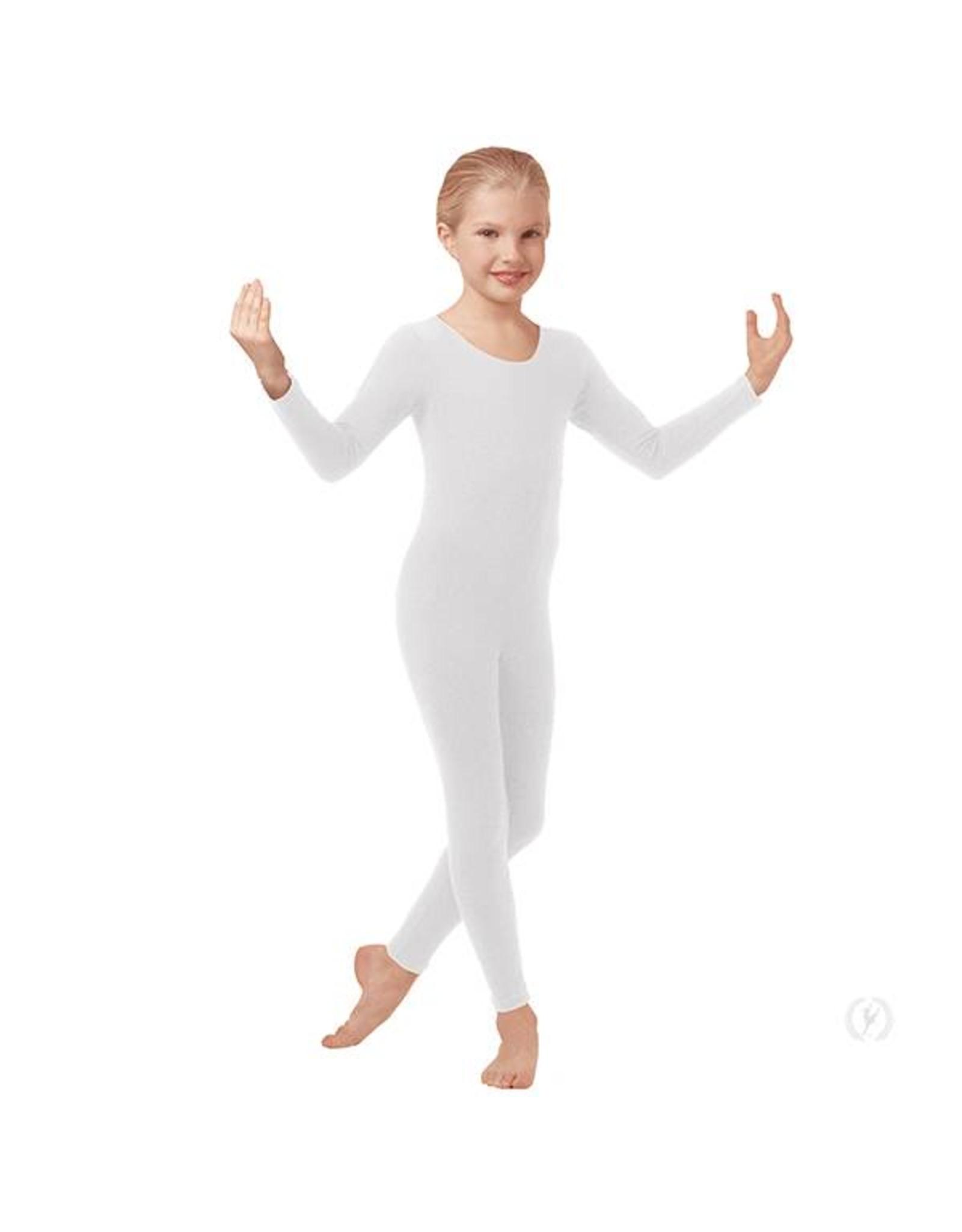 Eurotard 44129c- Child Microfiber Unitard Long Sleeve  WHITE