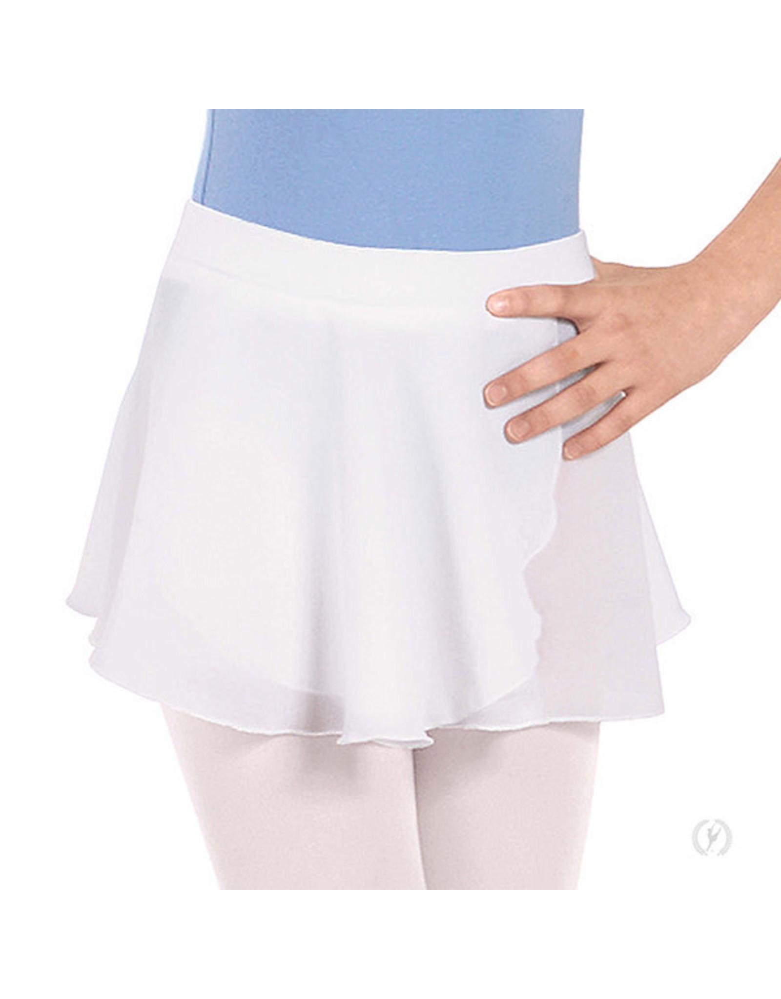 Eurotard 10127 Girls Mock Pull Up Wrap Skirt White