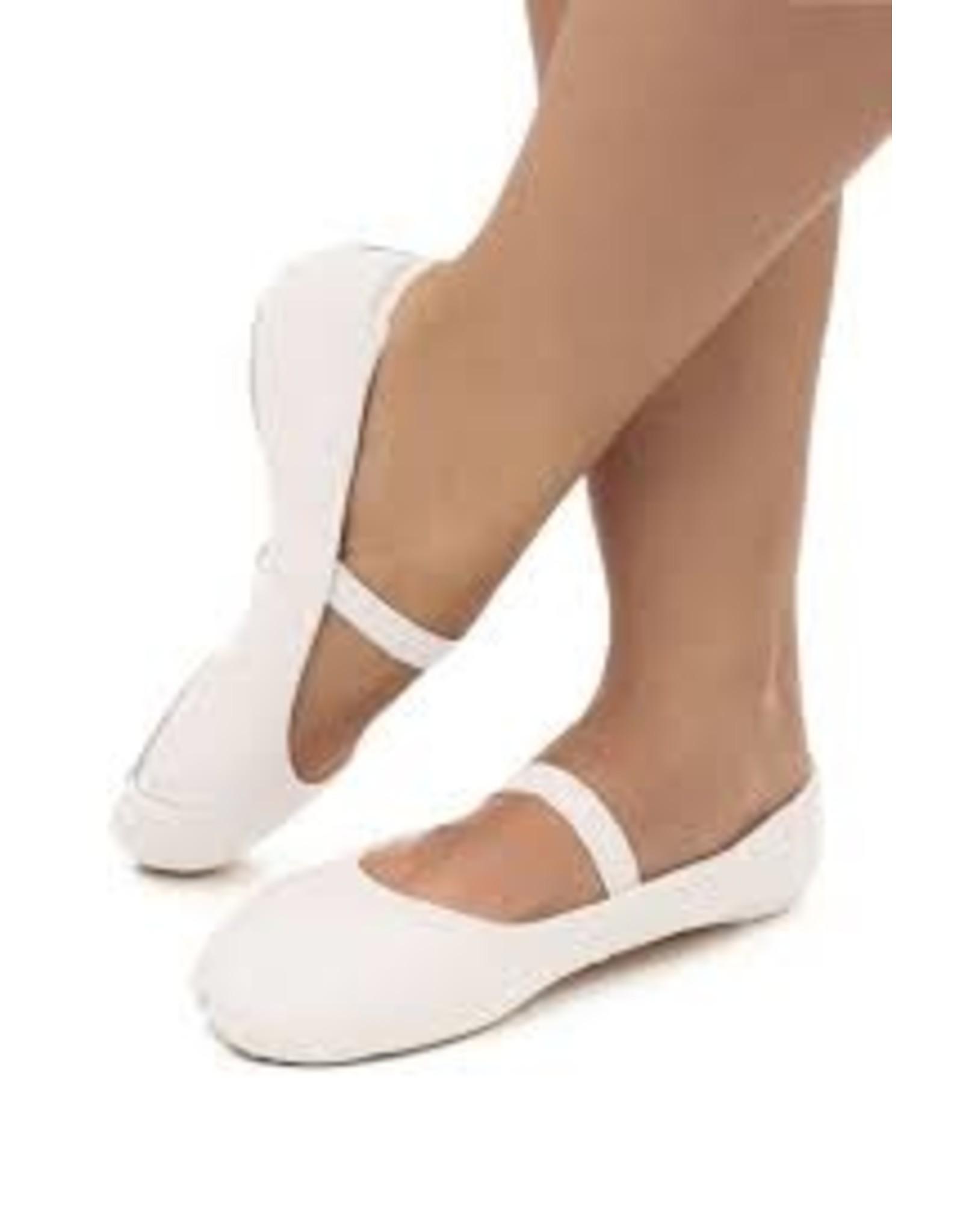 SoDanća SD55S Full Sole Leather Ballet Shoe W/O drawstring WHITE