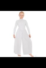 13846C CHILD  LITURGICAL PALAZZO JUMPSUIT WHITE