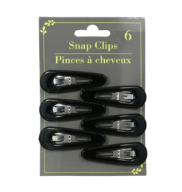 Hair Snap Clips Silver/Black