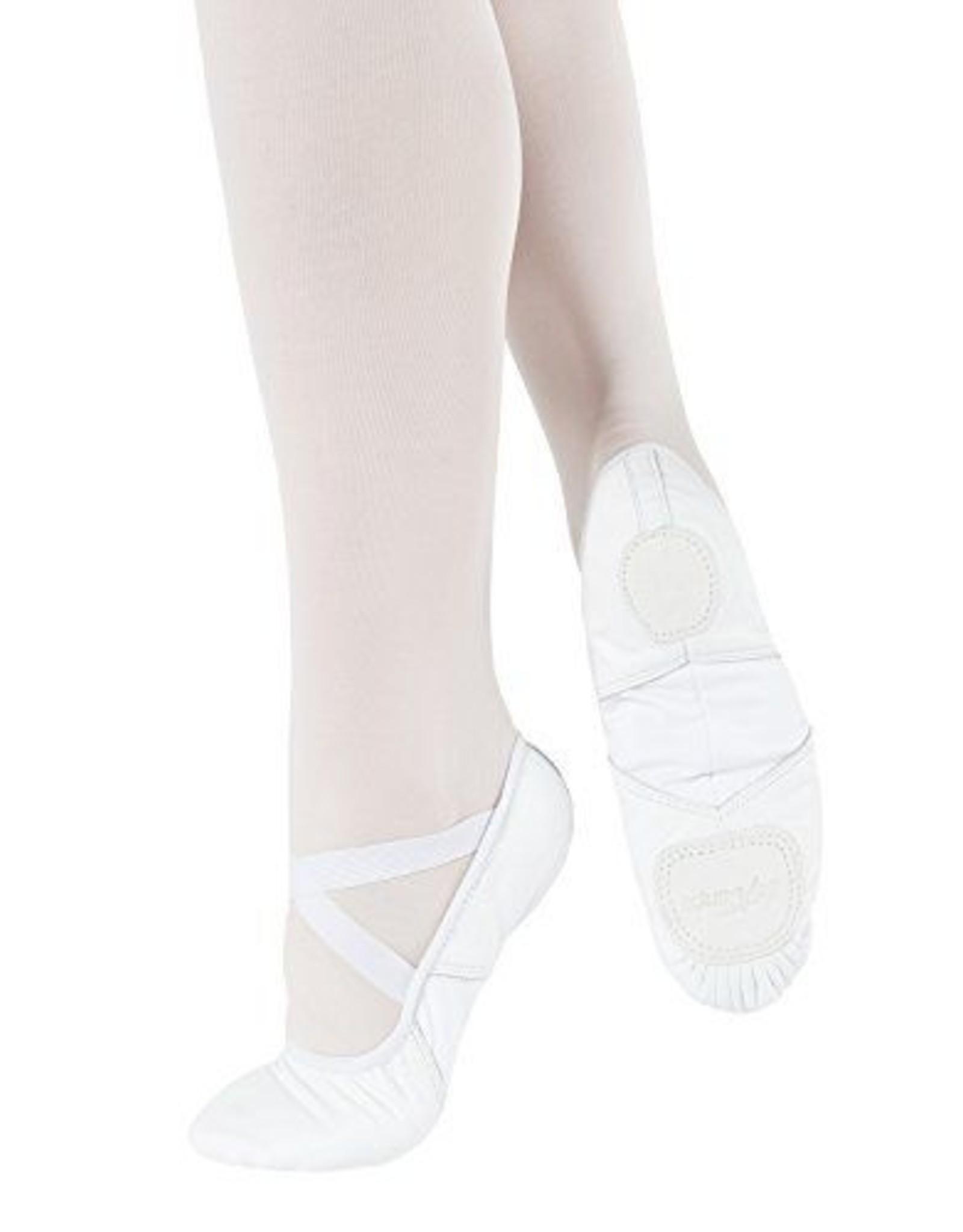 SoDanća SD110L Split Sole Leather Ballet Shoe W/O drawstring  WHITE