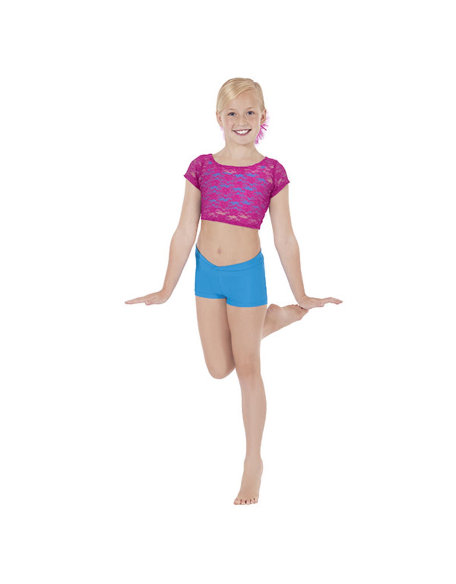 Eurotard 45876 Girls Stretch Cap Sleeve Lace Crop Top