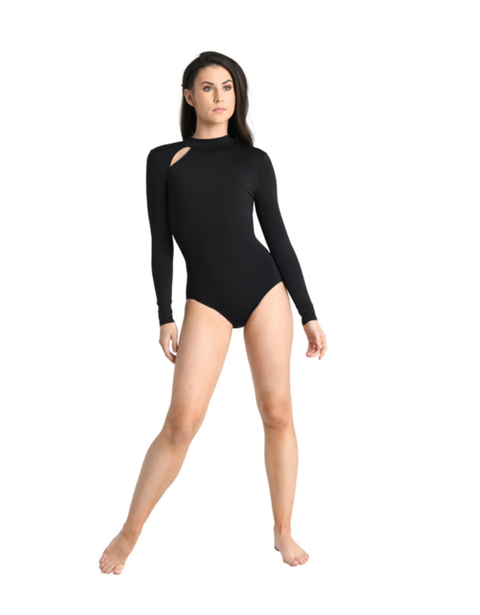 Danshuz 19119A Long sleeve leotard with stand-up collar and right-side cut-out at front