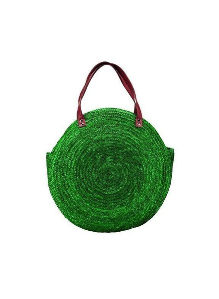 San Diego Hat Co SDA Round Green Straw Tote