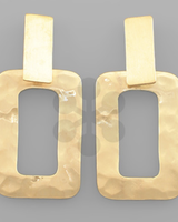 GS Hammered Rectangle Earrings