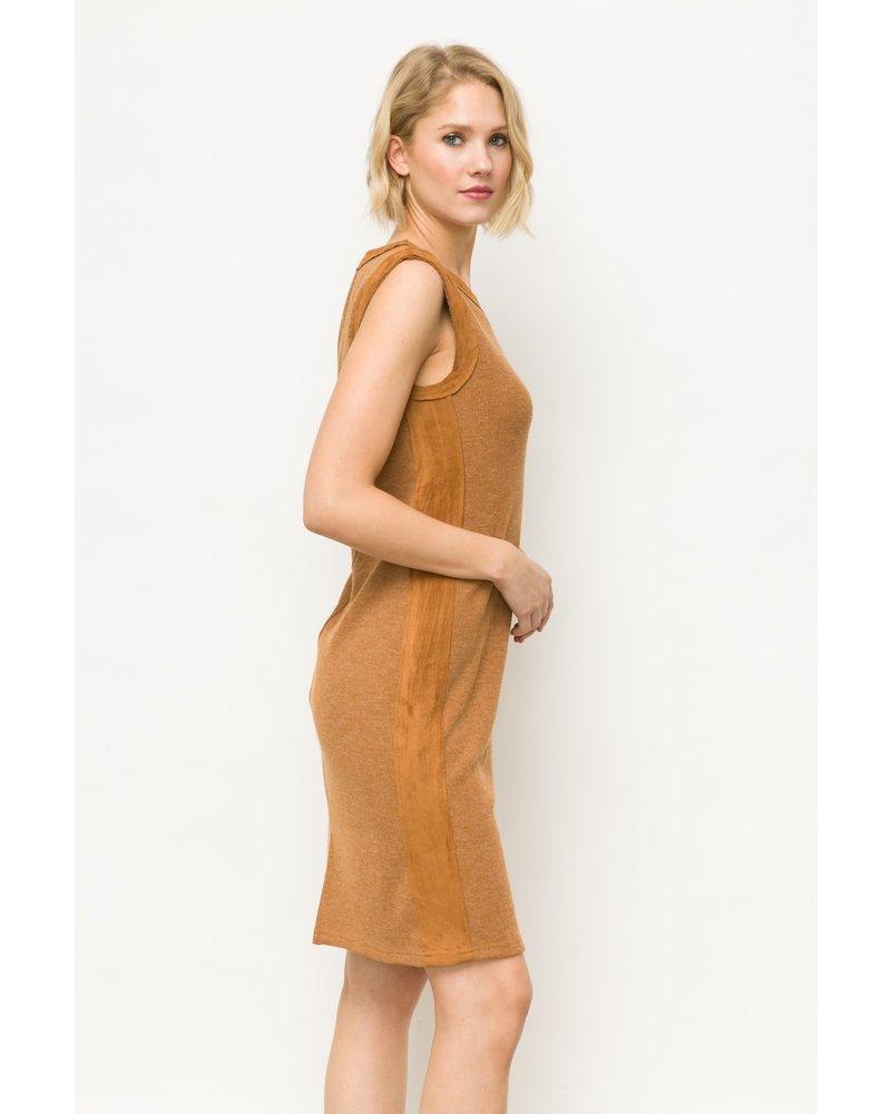Mystree Mystree Suede Side Pointed Rib Dress