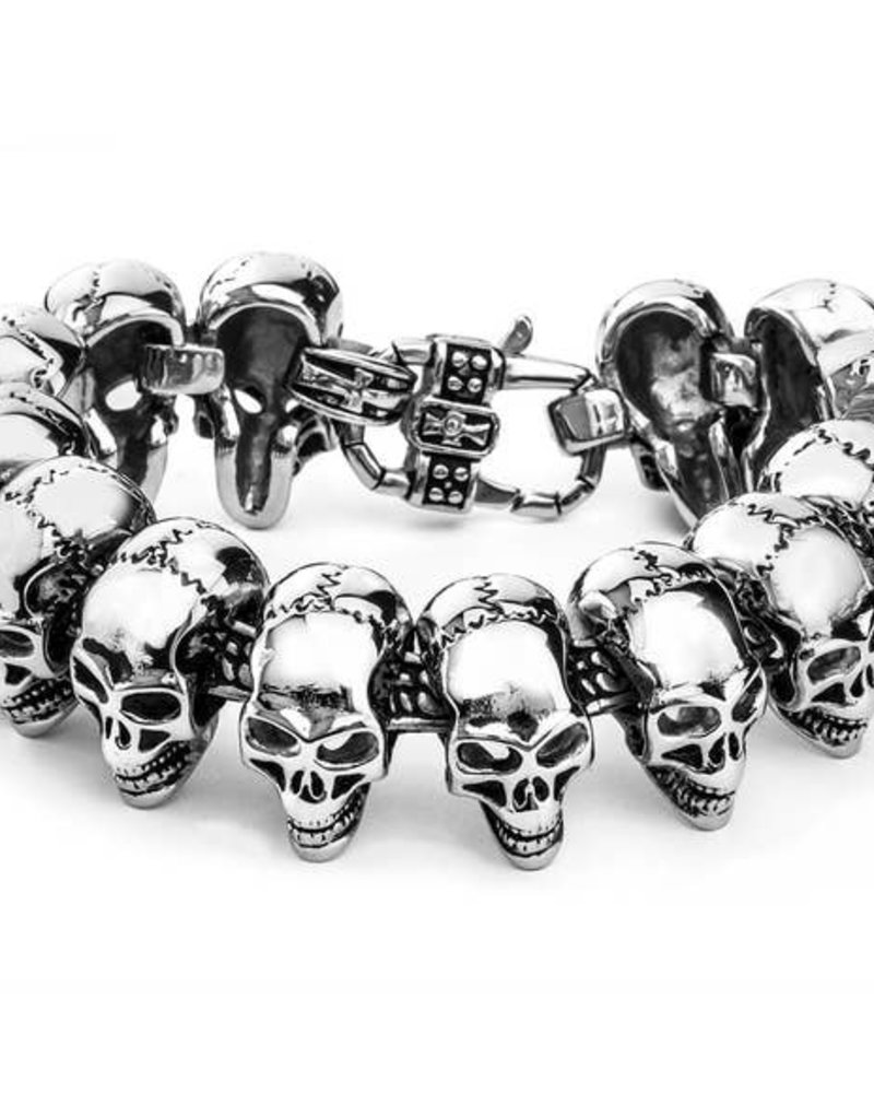 WCJ Polished Skull Link Bracelet