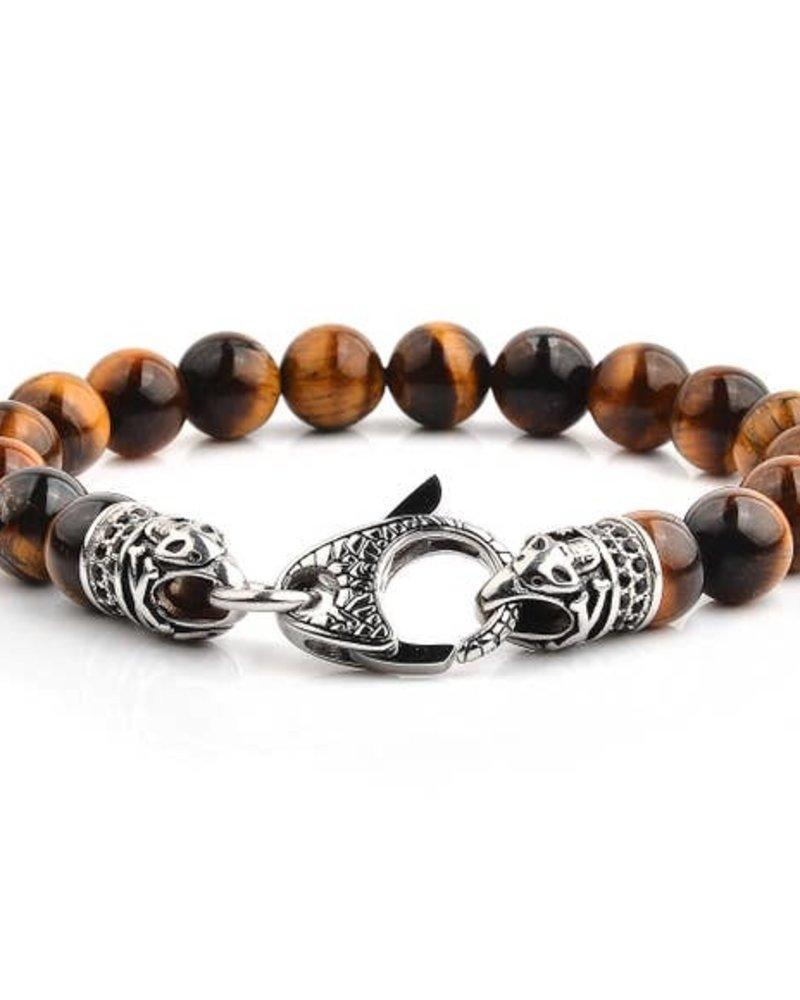 WCJ Tigers Eye Antique Steel Clasp Bracelet