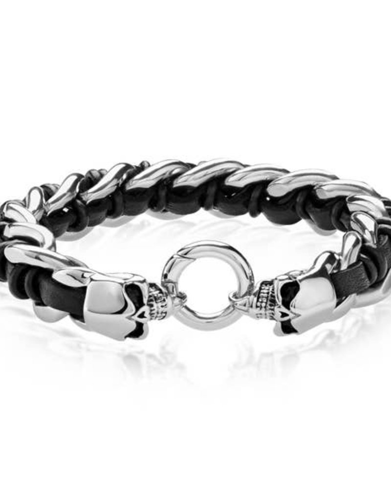 West Coast Jewelry WCJ Leather Skull Curb Chain Bracelet