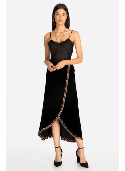 Johnny Was Naomi Velvet Wrap Skirt
