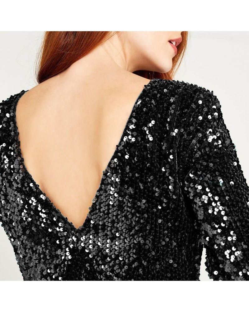 Apricot Apricot Sequin Low Back Dress