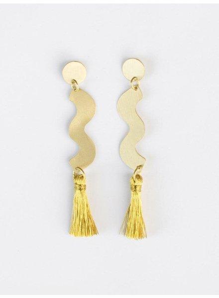 Mata Traders Sisley Squiggle Studs Gold