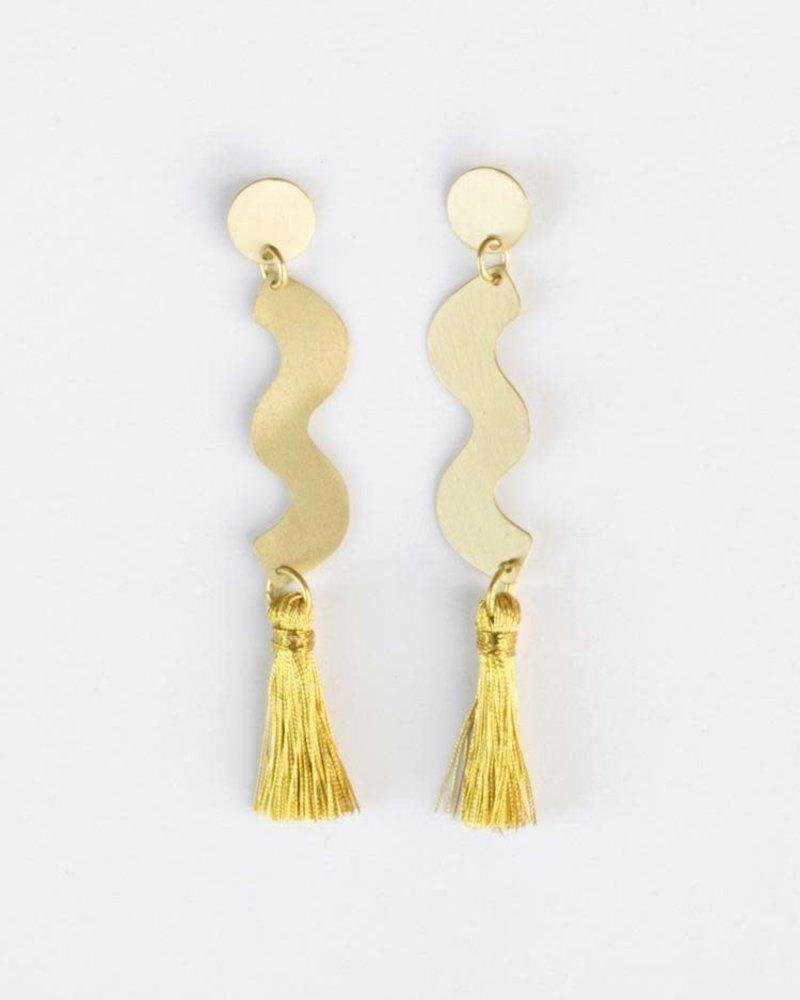 Mata Traders Mata Traders Sisley Squiggle Studs Gold
