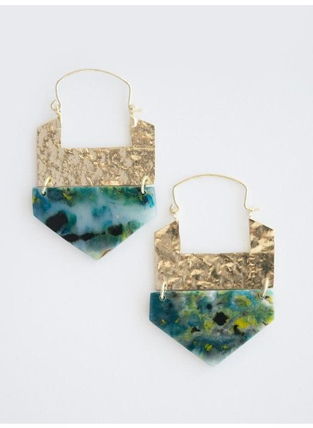 Mata Traders Resin Hook Earrings Green
