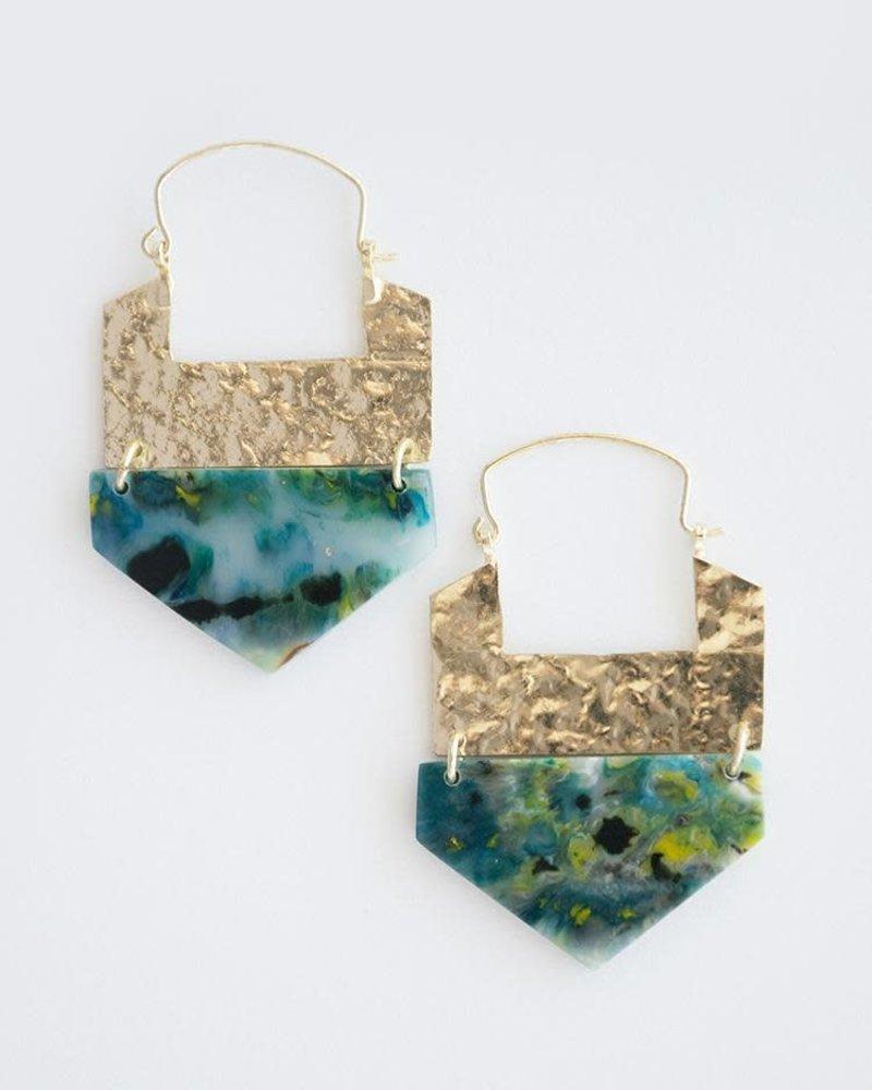 Mata Traders MataT Resin Hook Earrings Green